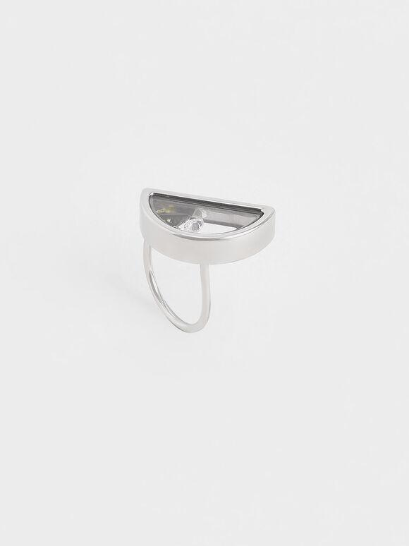 Semi-Circle Floating Locket Ring, Silver, hi-res