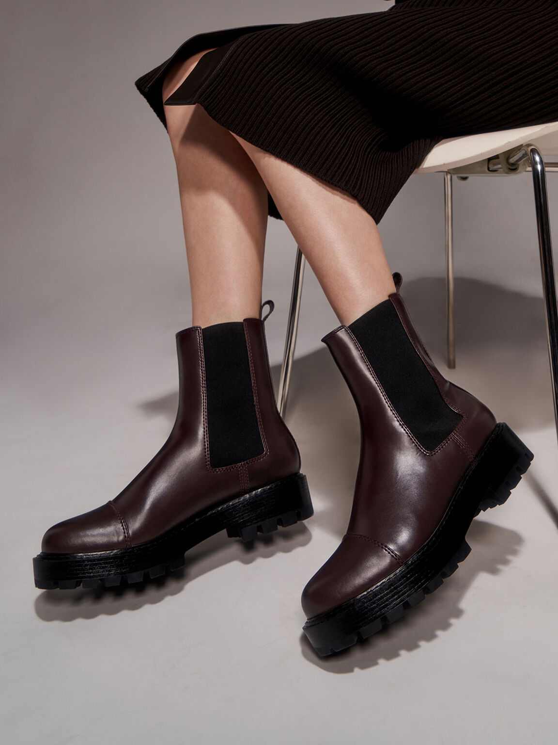 Chunky Sole Chelsea Boots, Maroon, hi-res