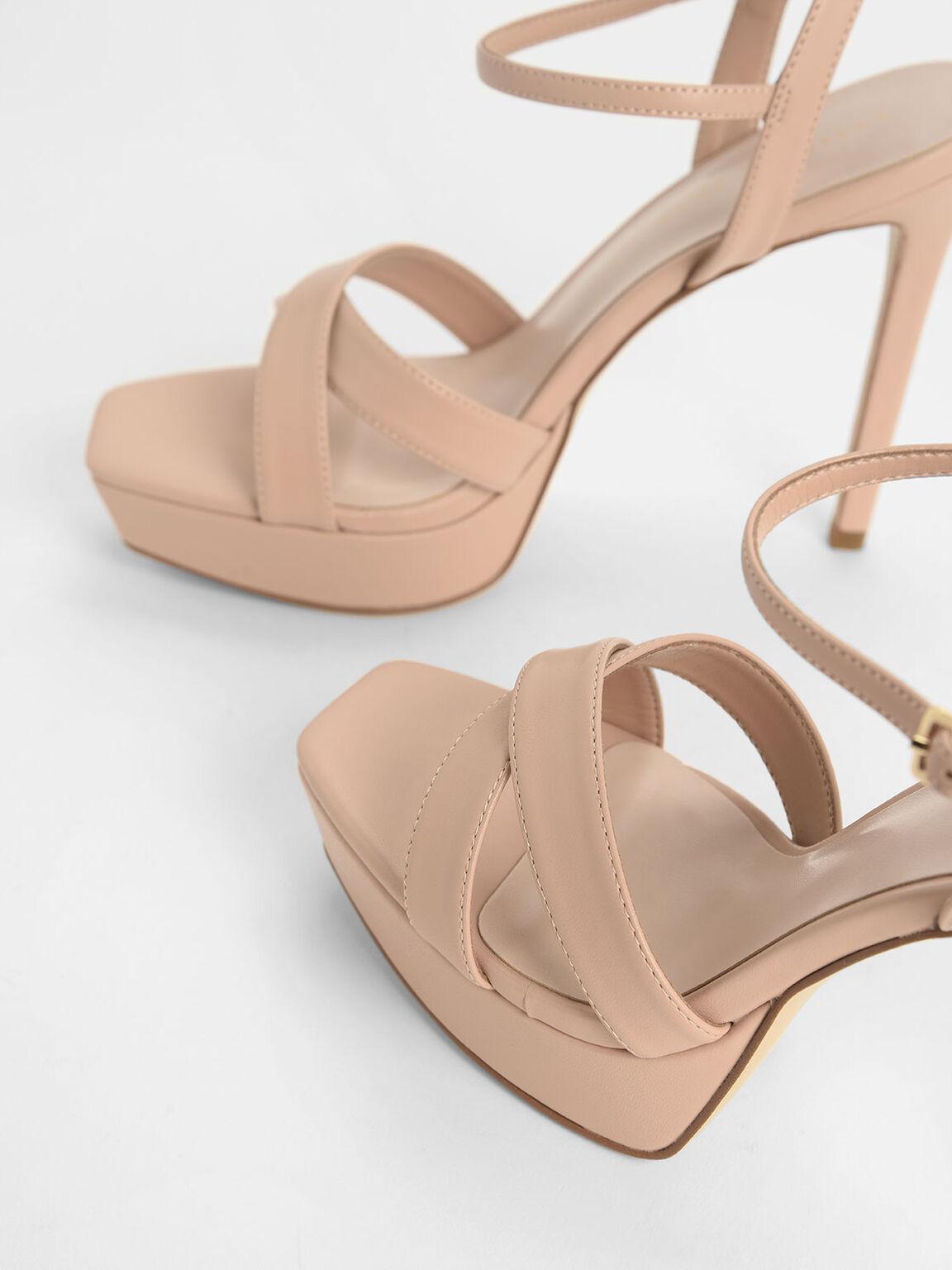 Criss Cross Ankle Strap Platform Heels, Nude, hi-res