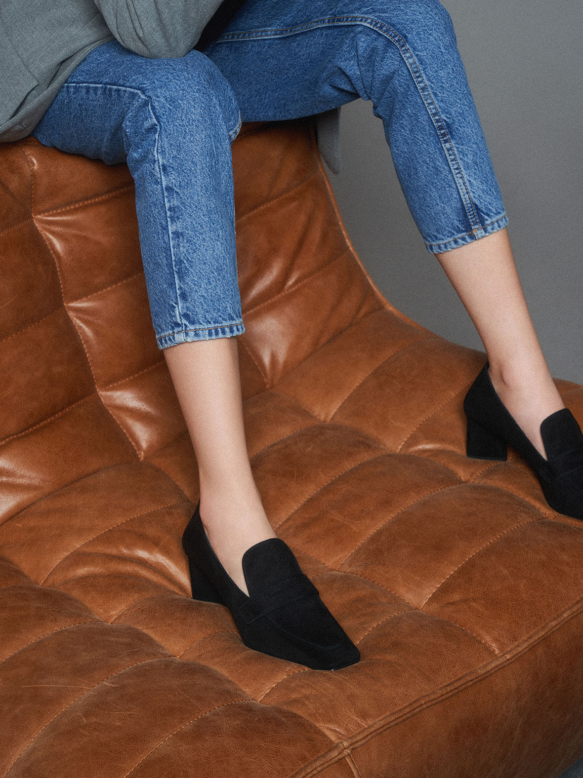 Textured Penny Loafer Pumps, Black, hi-res