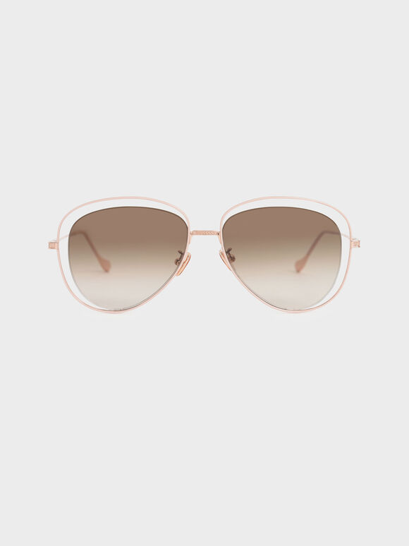 Cut-Out Aviator Sunglasses, Rose Gold, hi-res