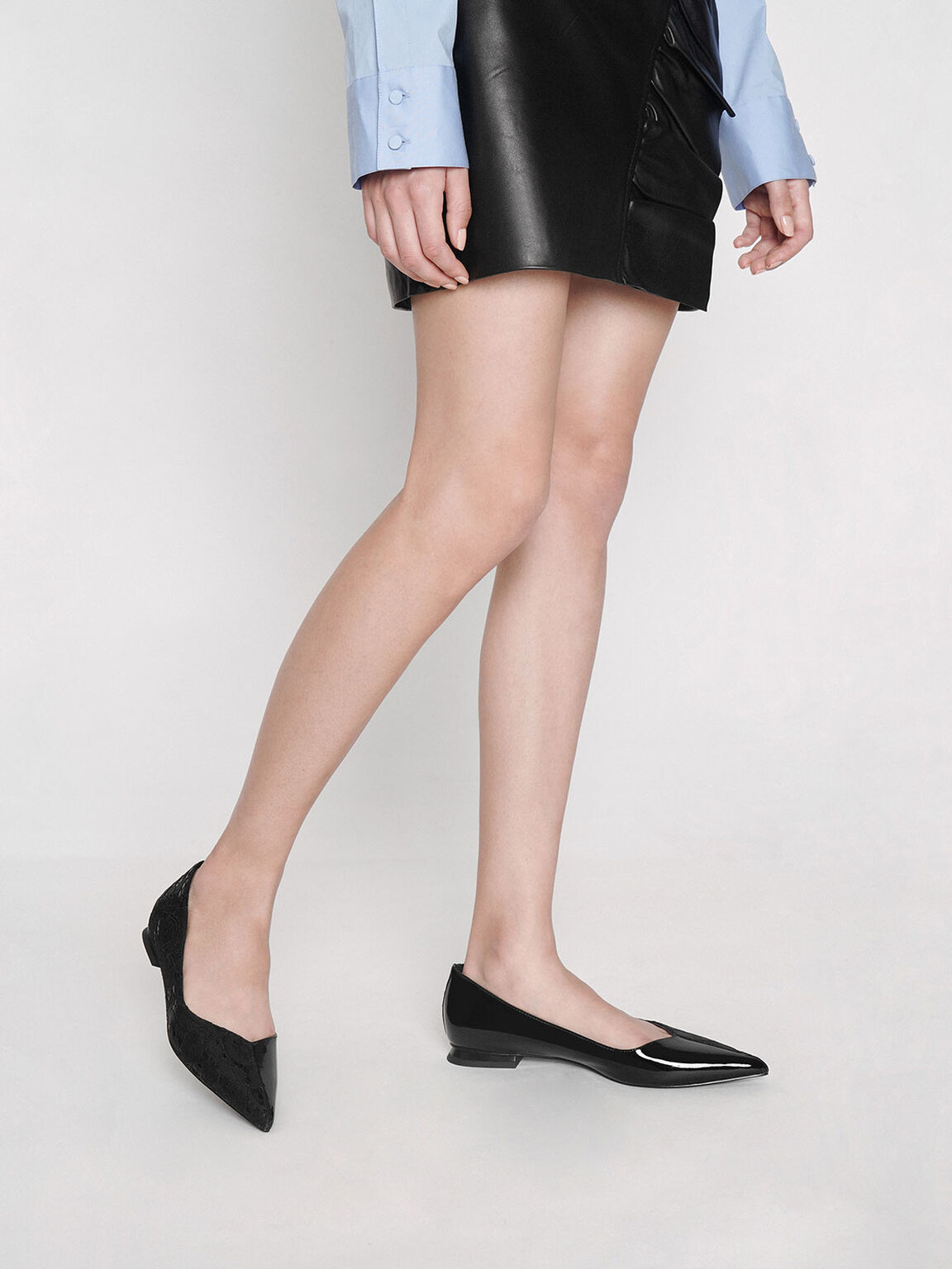 Patent Leather Lace Ballerina Flats, Black, hi-res