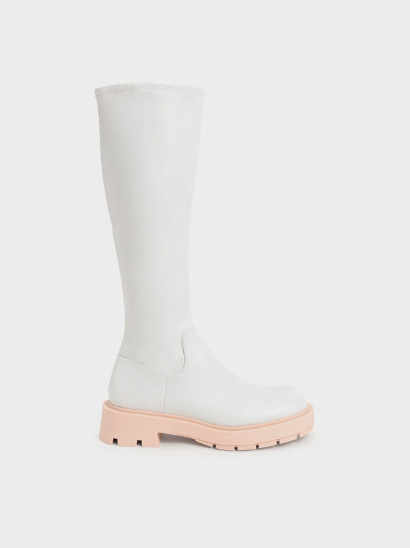 Rhys Coloured Sole Knee-High Boots, Pink, hi-res