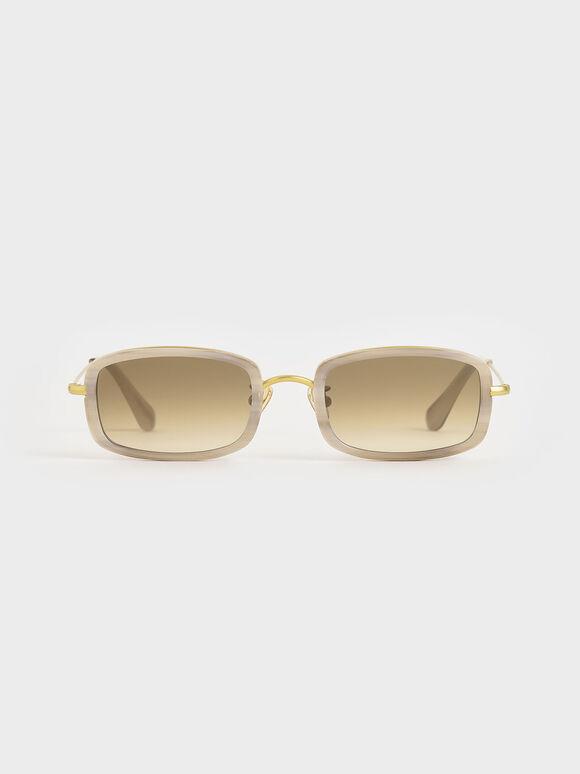 Rectangle Frame Acetate Sunglasses, Cream, hi-res