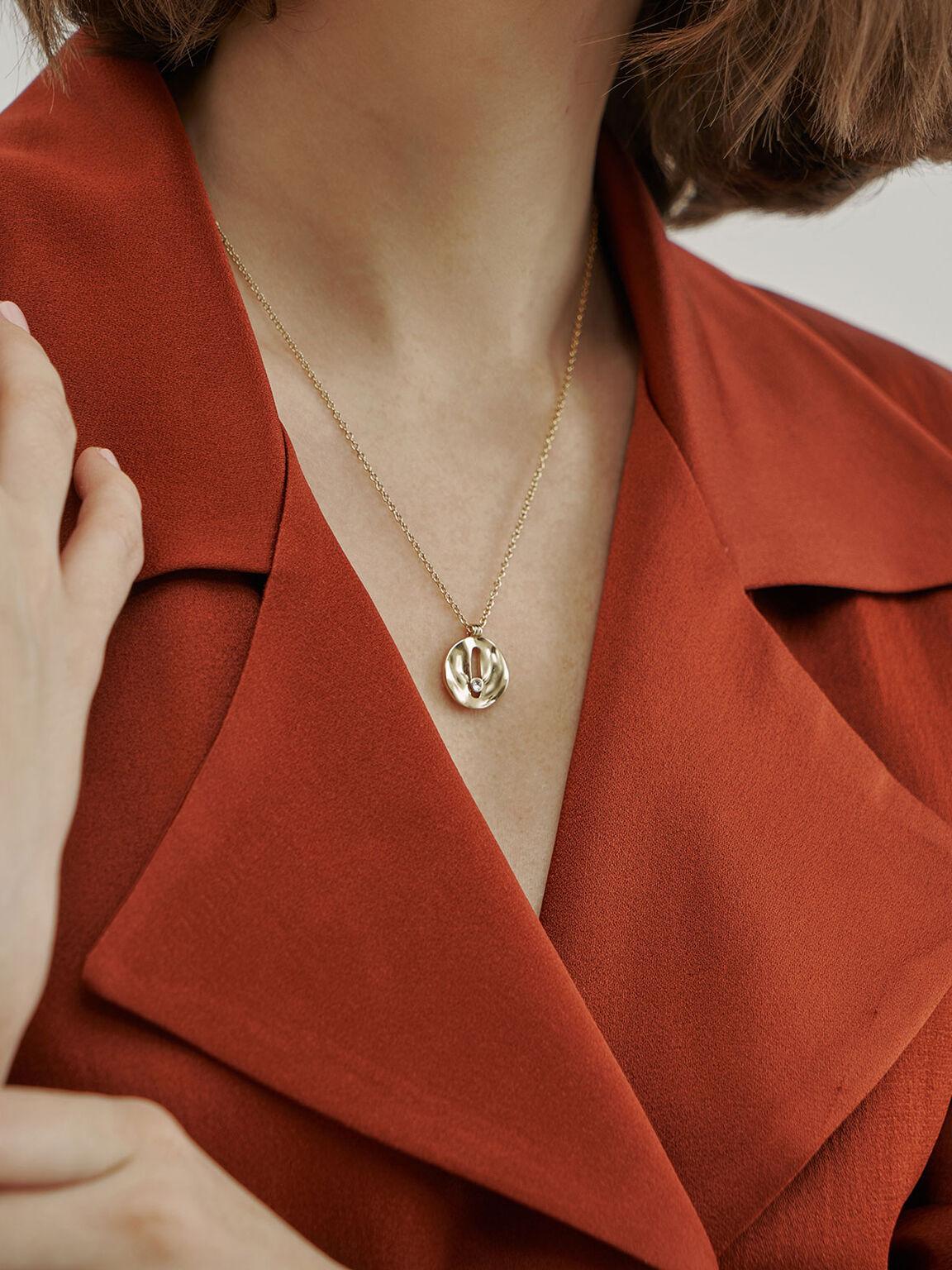 Medal Necklace, Brush Gold, hi-res