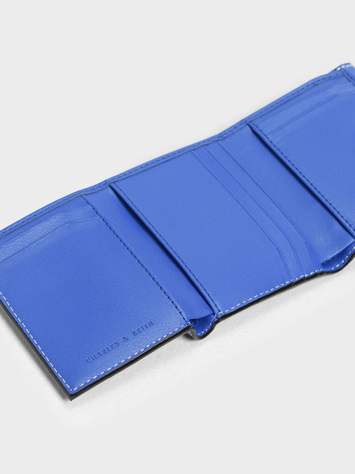 Stitch Detail Front Flap Short Wallet, Blue, hi-res