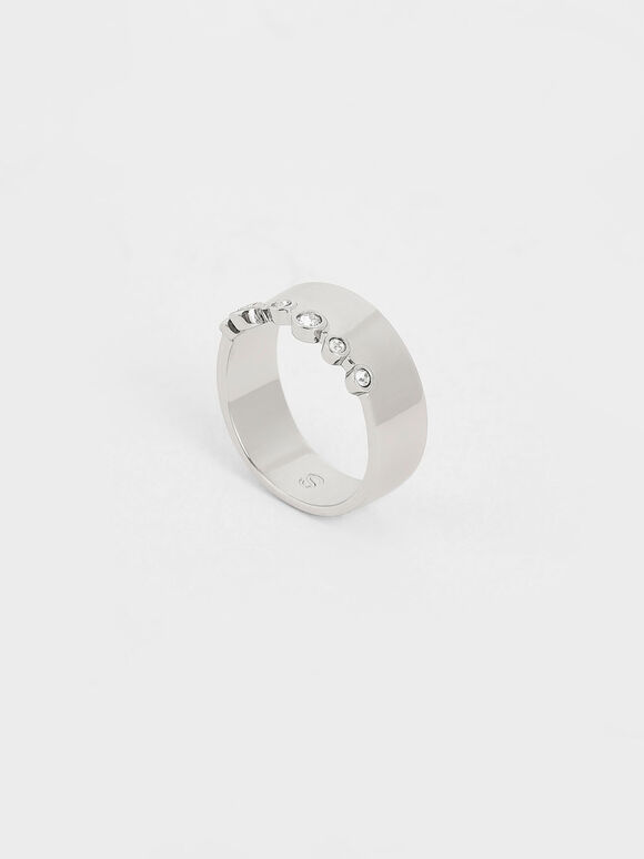 Swarovski® Crystal Studded Ring, Silver, hi-res