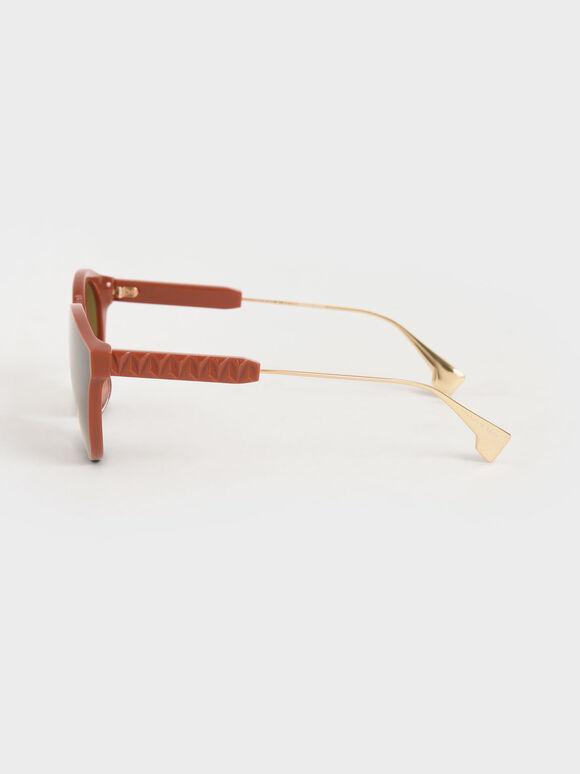 Acetate Cat-Eye Sunglasses, Clay, hi-res
