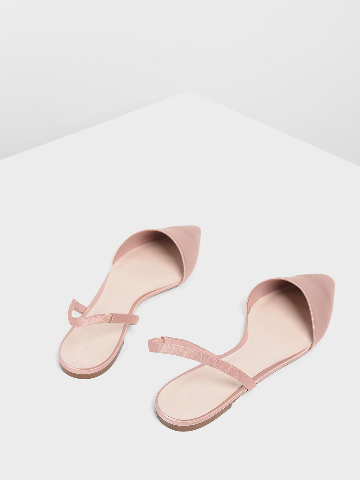 Satin Pointed Toe Slingback Flats, Nude, hi-res