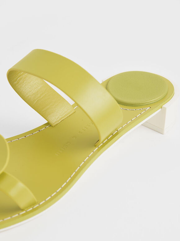 Double Strap Mules, Green, hi-res
