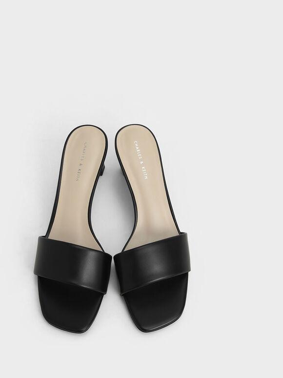 Open Square Toe Mules, Black, hi-res