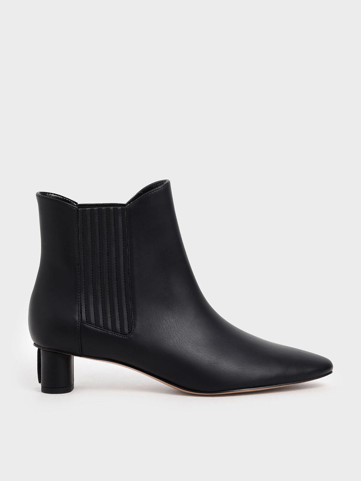 Cylindrical Heel Chelsea Boots, Black, hi-res
