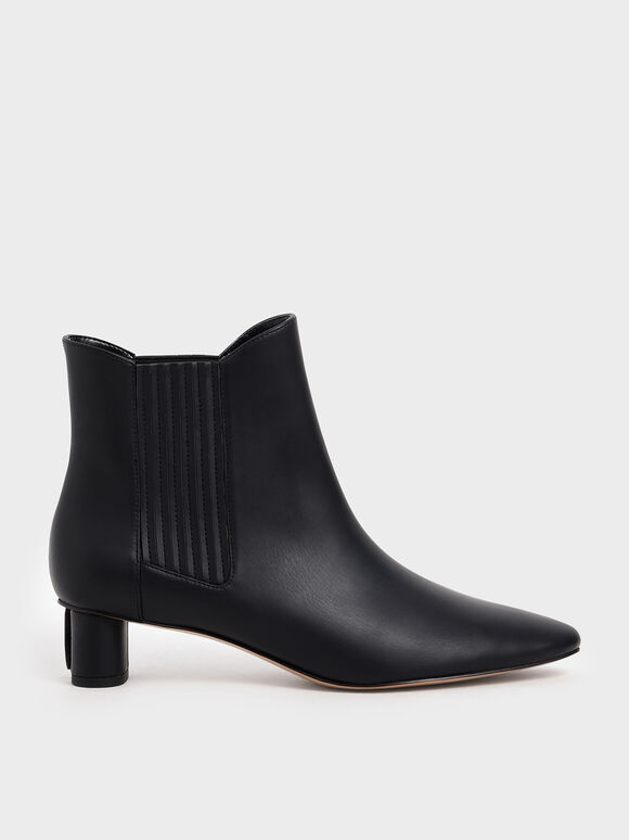 Cylindrical Heel Chelsea Boots, Black, hi-res