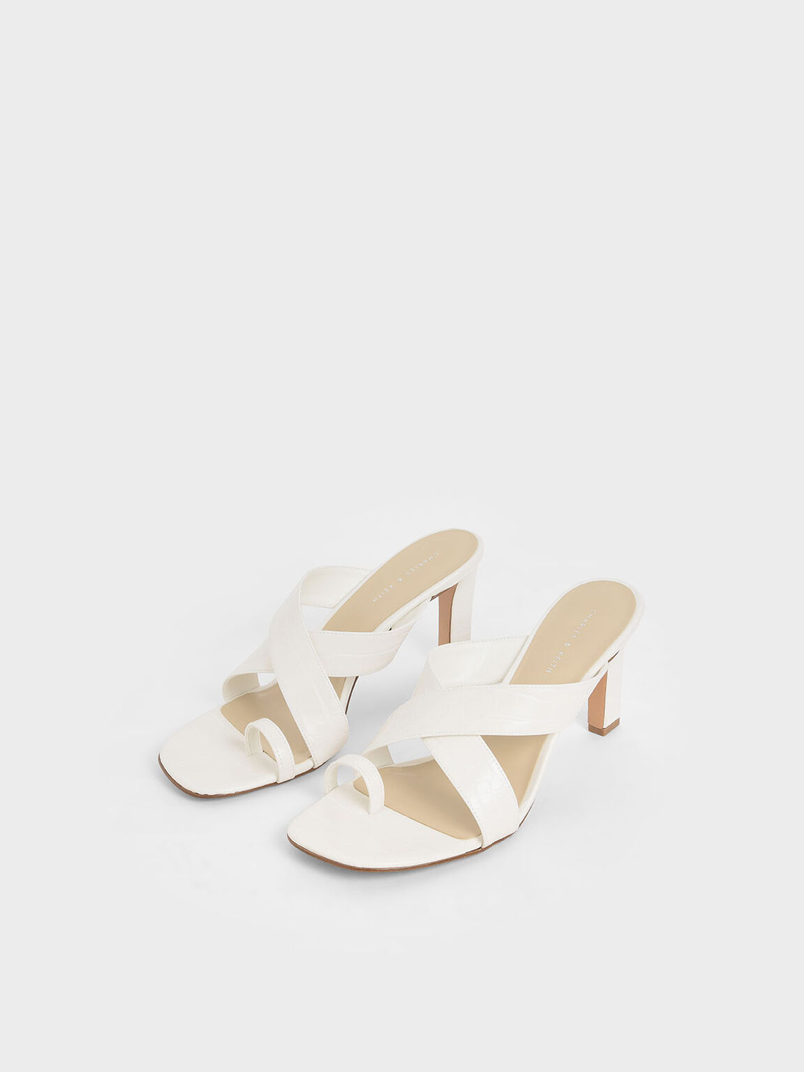 Croc-Effect Heeled Mules, White, hi-res