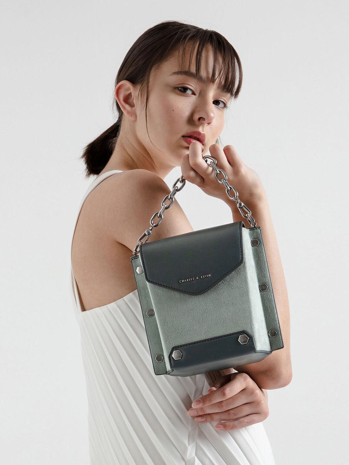 Stud Detail Textured Bag, Sage Green, hi-res