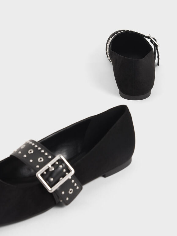 Textured Studded Mary Jane Flats, Black, hi-res