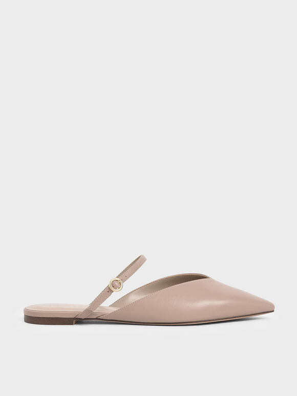 V-Cut Mary Jane Mules, Taupe, hi-res
