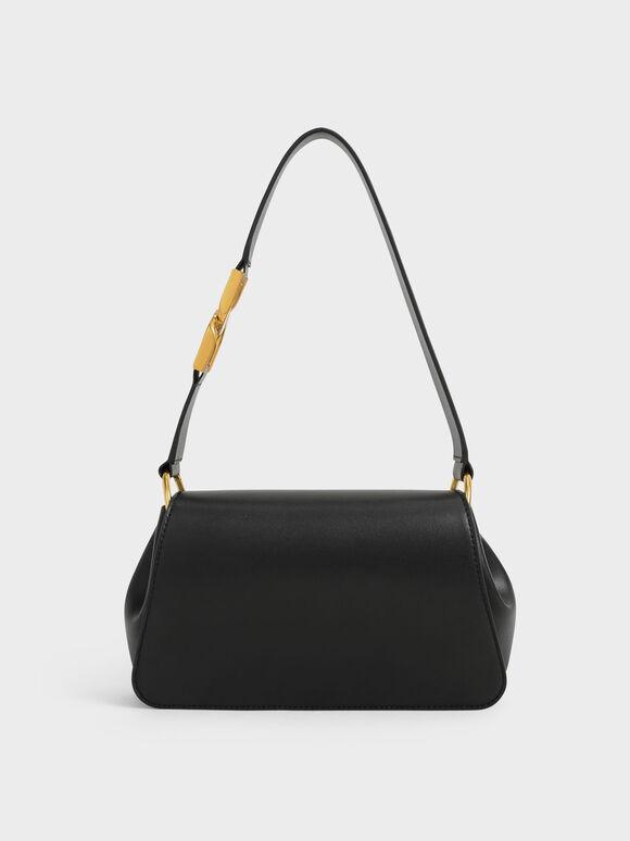 Buckle Detail Shoulder Bag, Black, hi-res