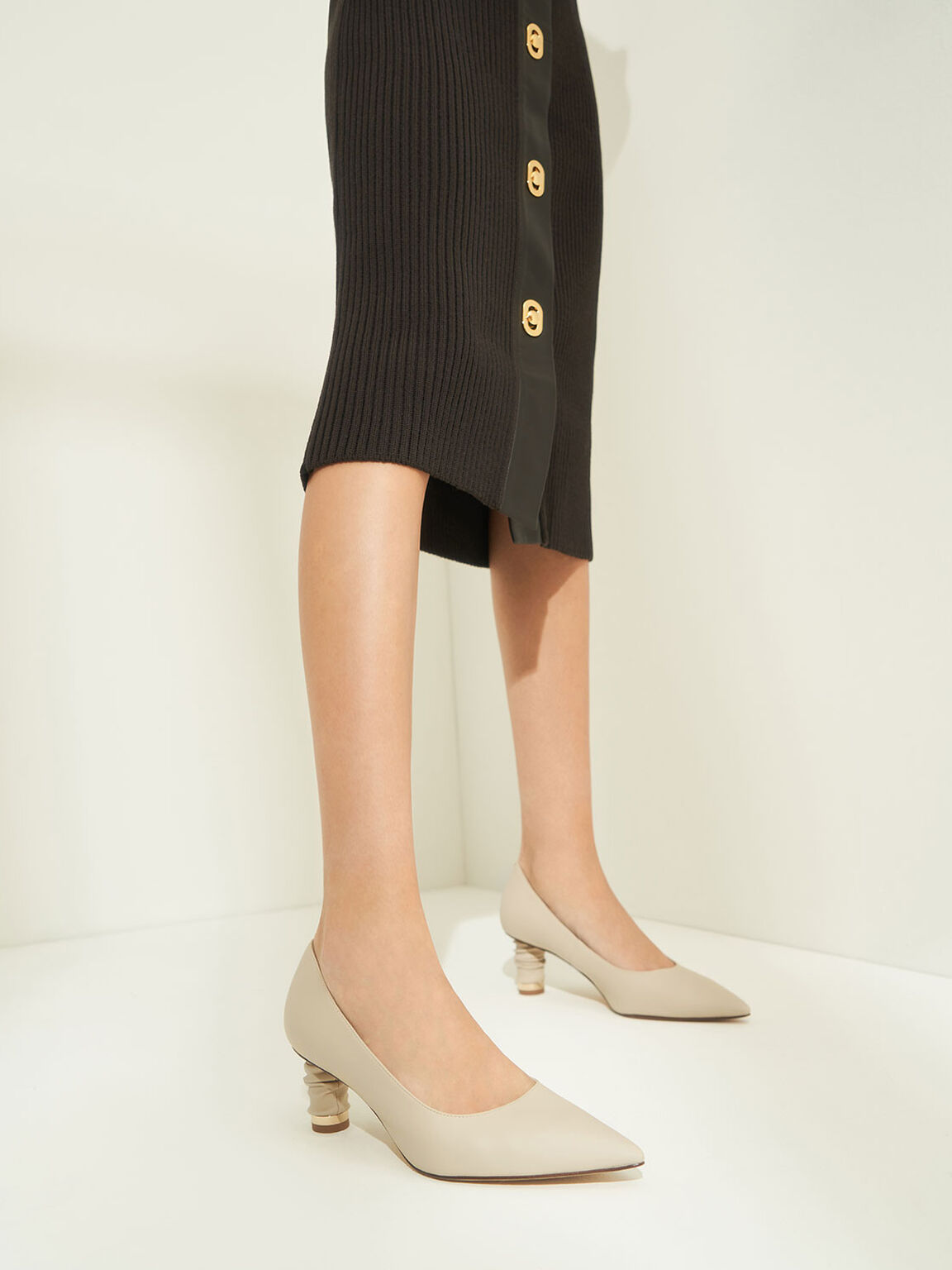 Cylindrical Heel Pointed Toe Pumps, Taupe, hi-res