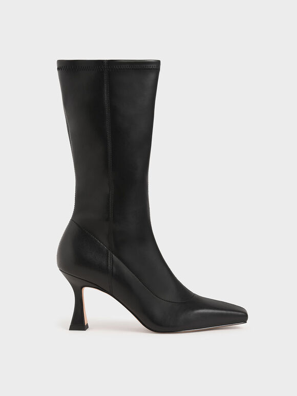 Spool Heel Calf Boots, Black, hi-res