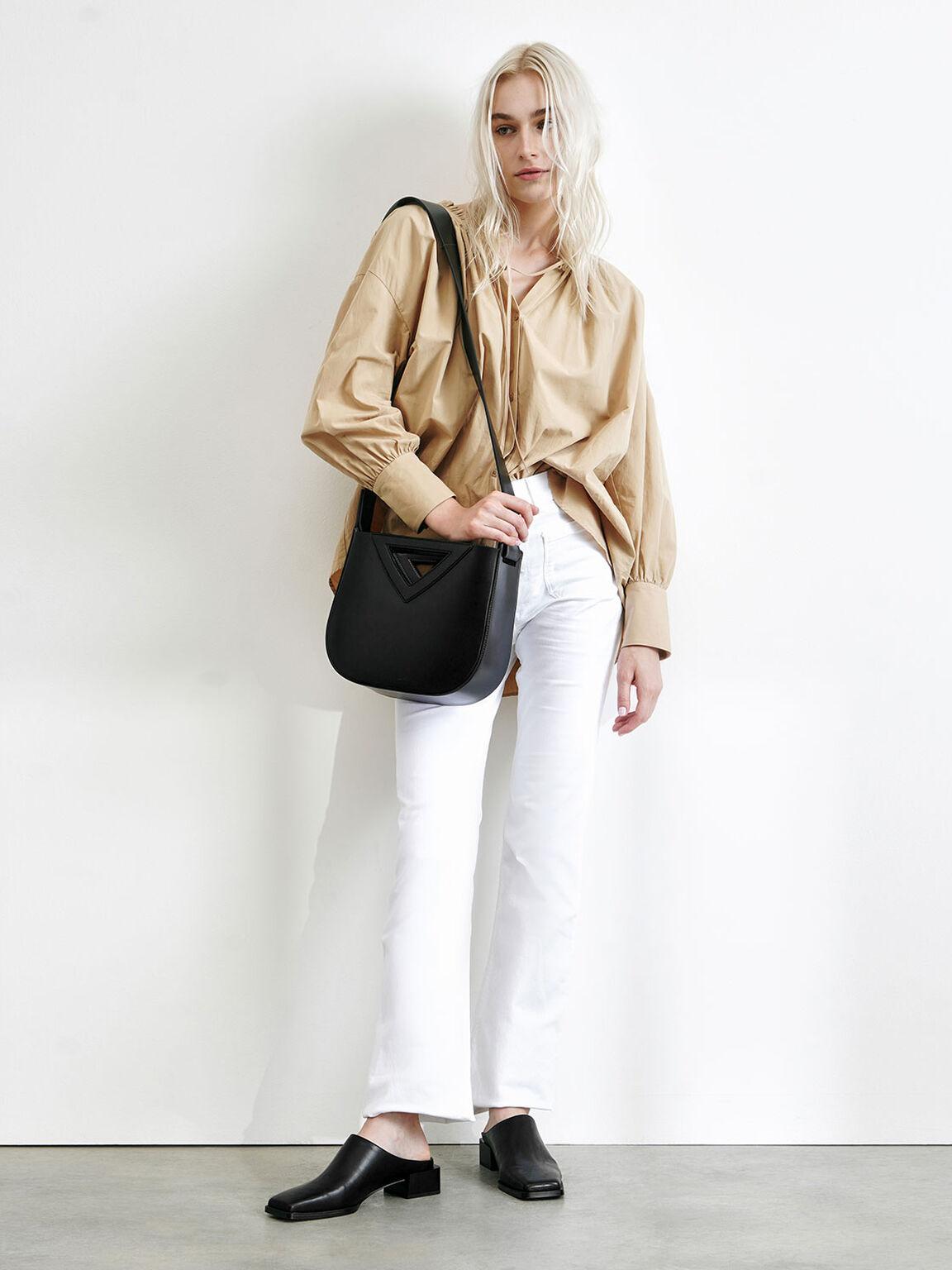 Triangle Handle Tote Bag, Black, hi-res