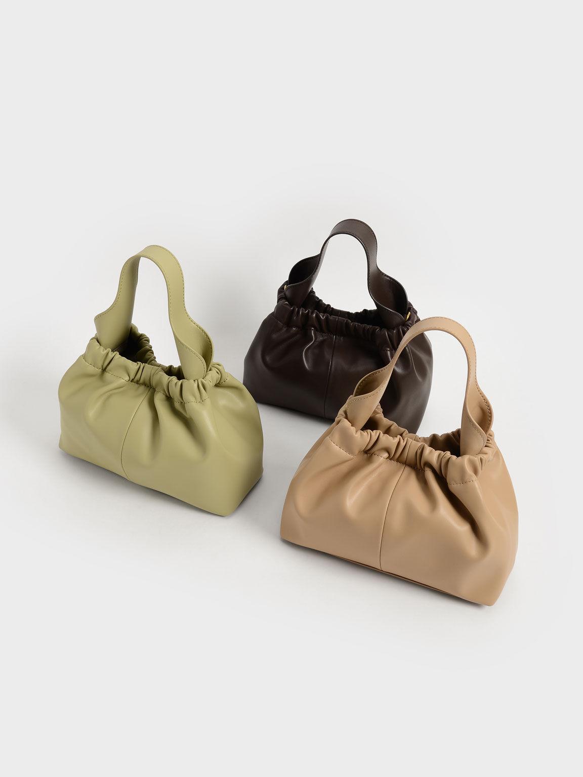Pleated Hobo Bag, Burgundy, hi-res