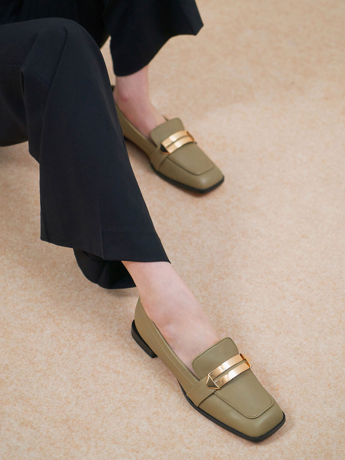 Metallic Accent Penny Loafers, Green, hi-res