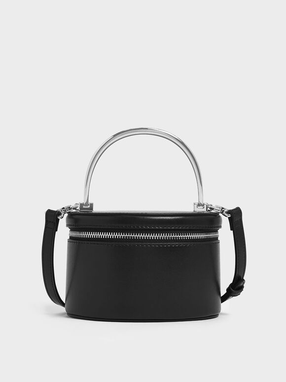Metal Top Handle Round Structured Bag, Black, hi-res
