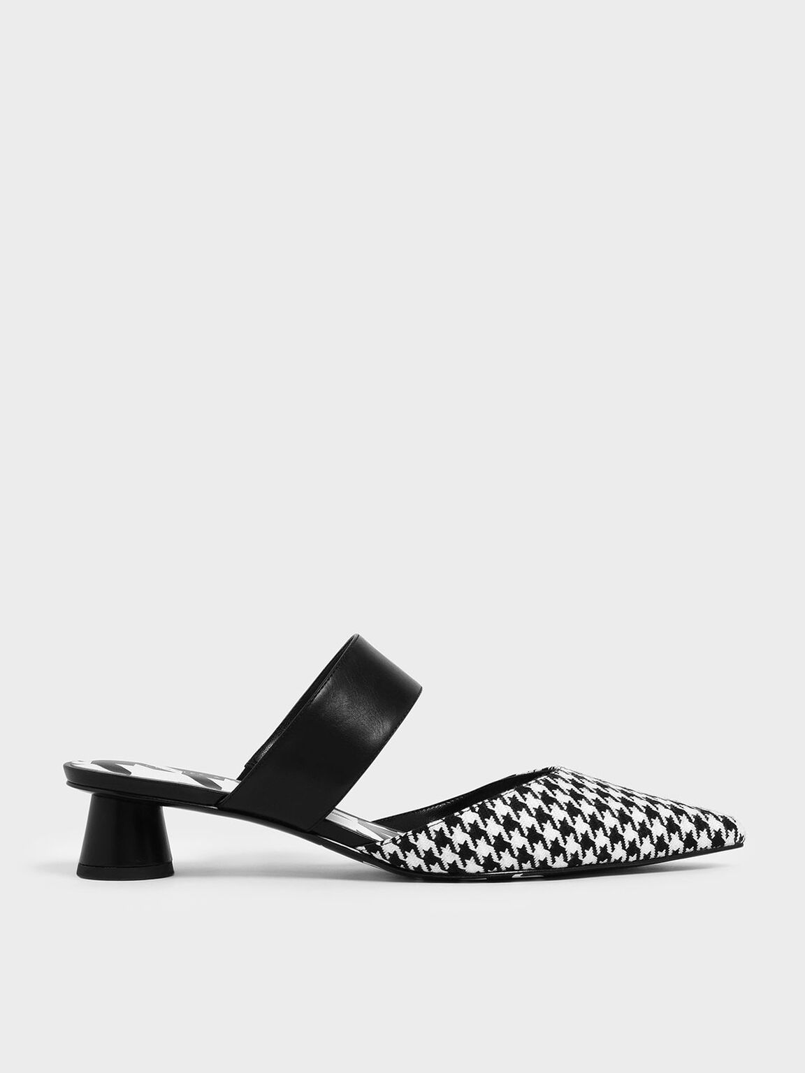 Houndstooth Print Woven Fabric Mules, Multi, hi-res
