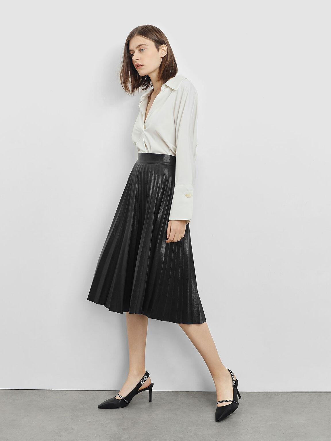 Leather Bedazzled Sling Back Heels, Black, hi-res