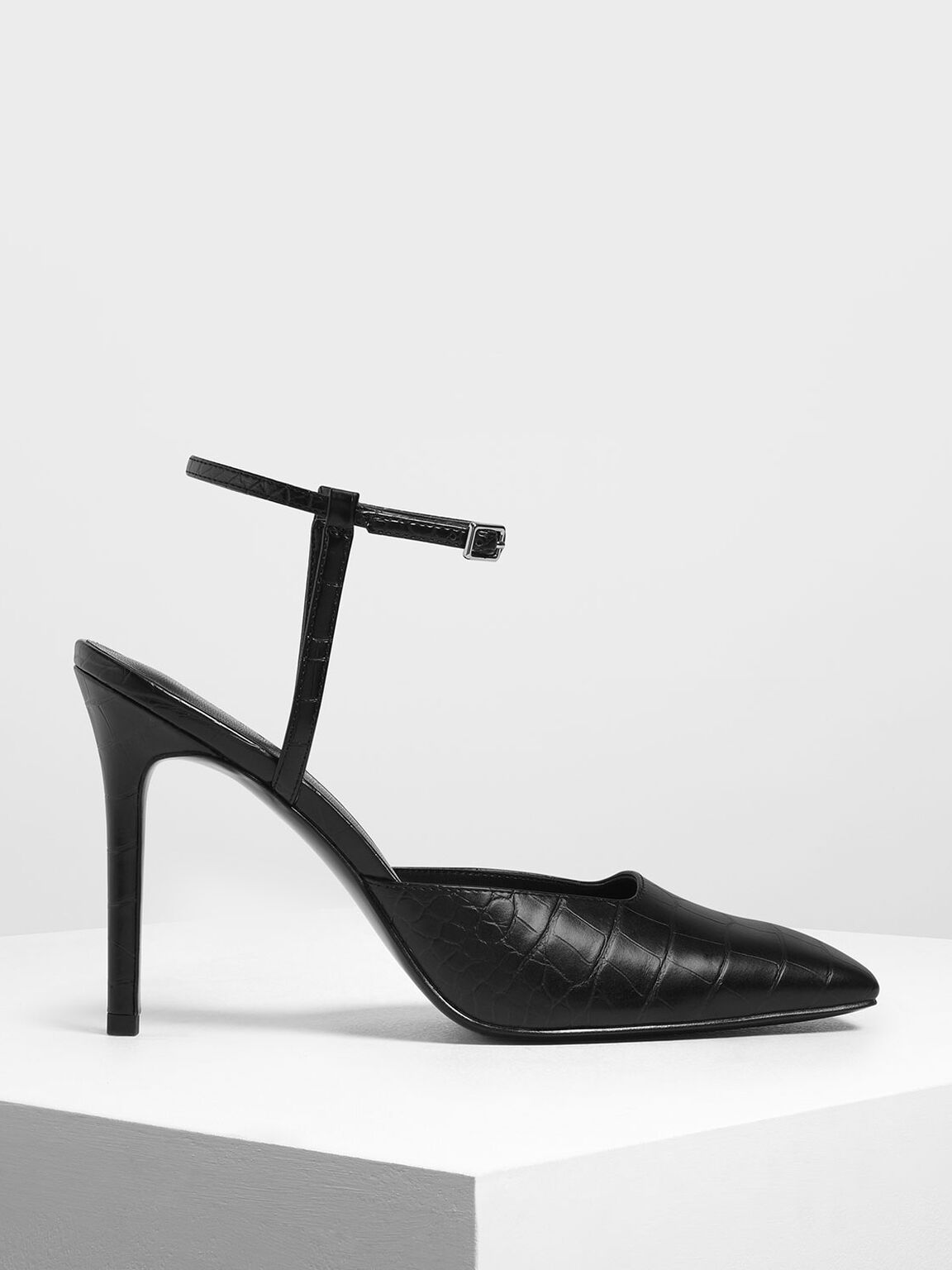 Square Toe Croc-Effect Stiletto Pumps, Black, hi-res