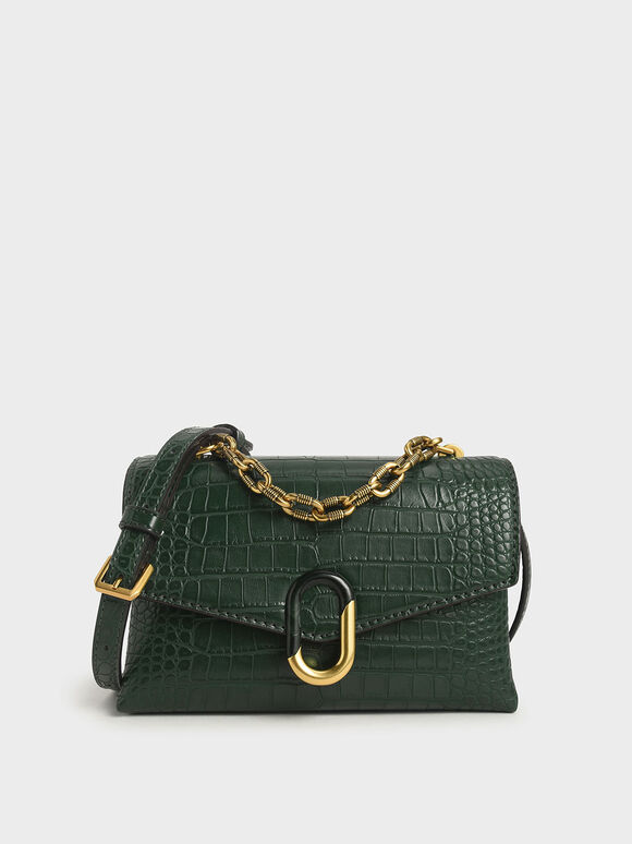 Croc-Effect Chunky Chain Strap Trapeze Bag, Green, hi-res