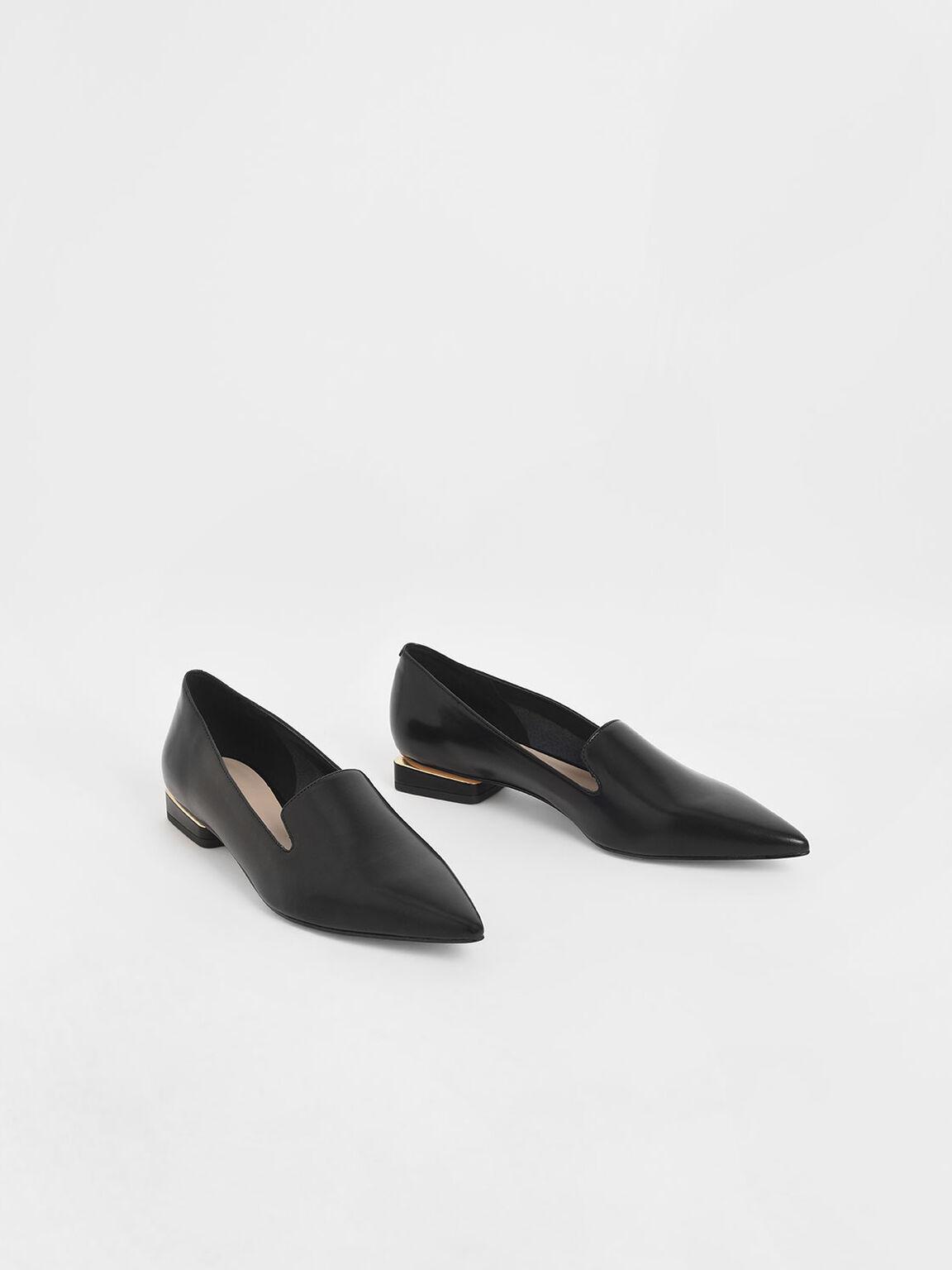 Metal Accent Heel Loafers, Black, hi-res