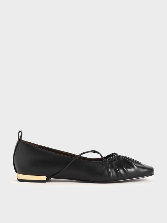 Criss-Cross Ruched Ballerina Flats, Black, hi-res
