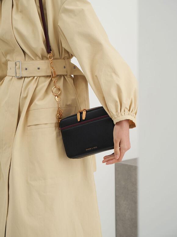 Double Zip Crossbody Bag, Black, hi-res