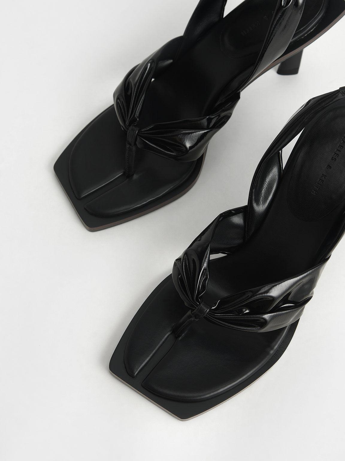 Limited Edition: Patent Slingback Thong Sandals, Black, hi-res