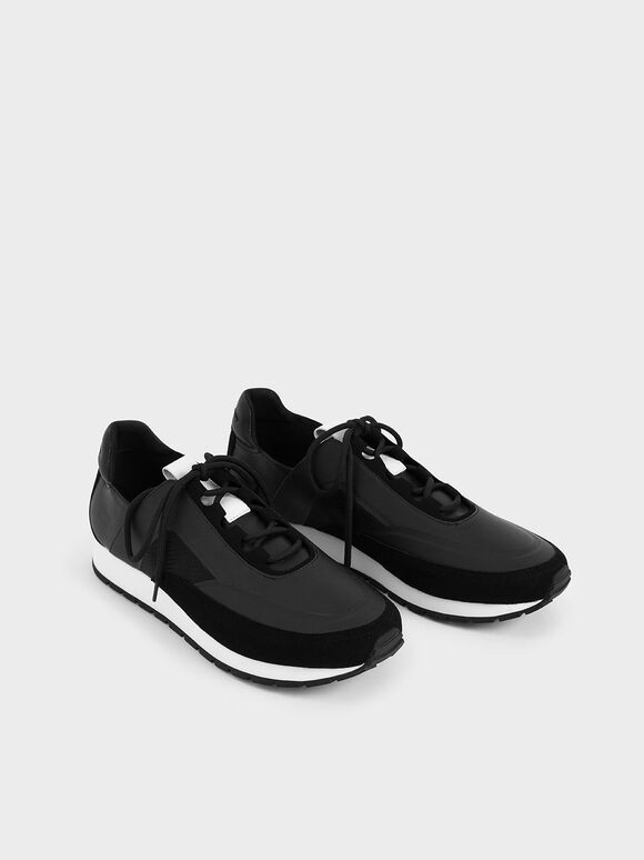 Lace-Up Trainers, Black, hi-res