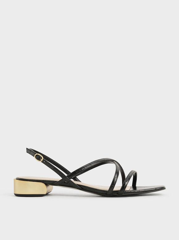 Metallic Accent Strappy Sandals, Animal Print Black, hi-res