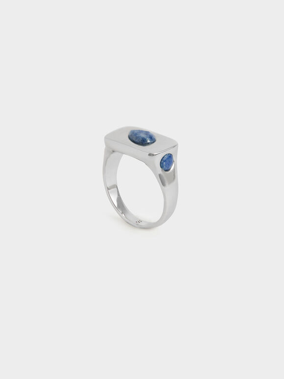 Blue Sodalite Signet Ring, Silver, hi-res