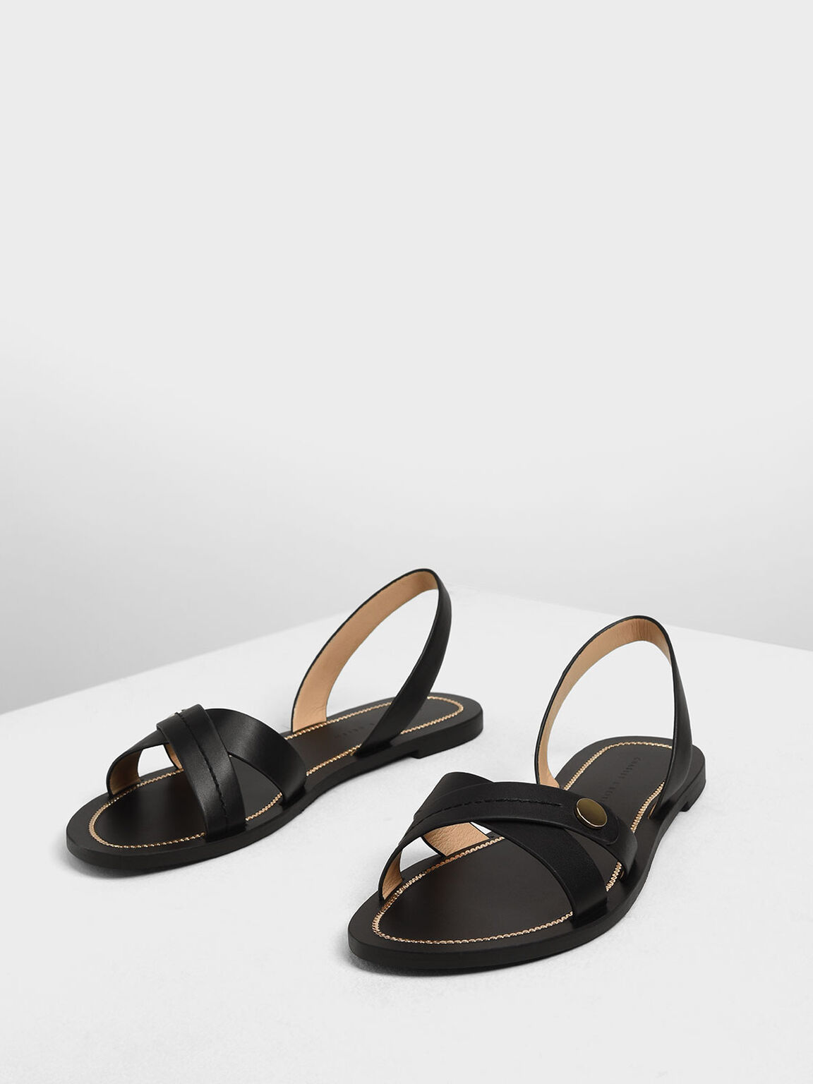 Button Detail Criss Cross Sandals, Black, hi-res