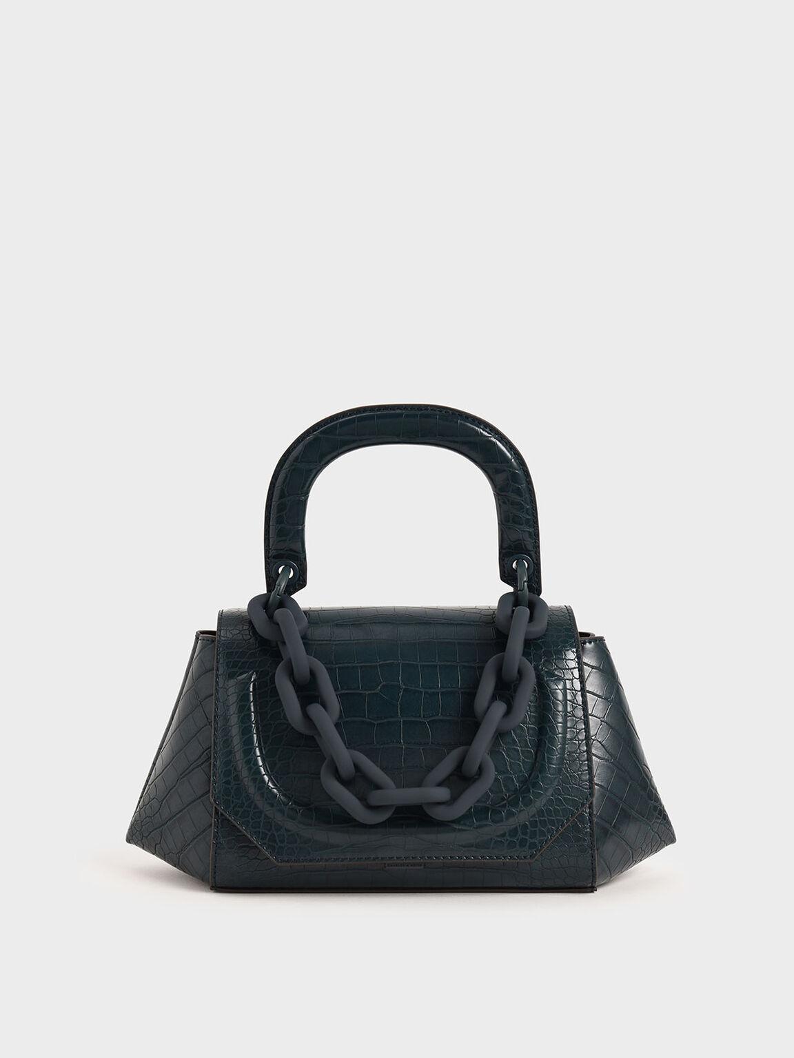 Croc-Effect Chunky Chain Handbag, Teal, hi-res