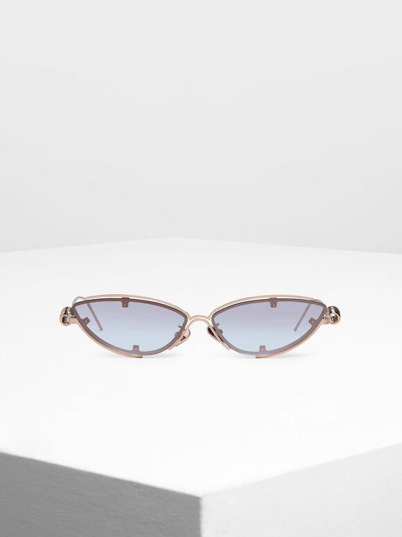 Double Frame Cat-Eye Sunglasses, Rose Gold, hi-res