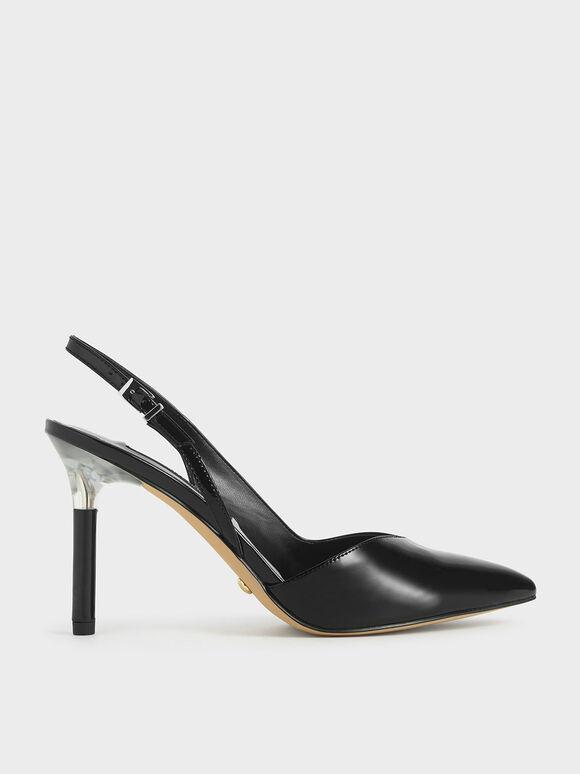Patent Leather Half D'Orsay Slingback Pumps, Black, hi-res