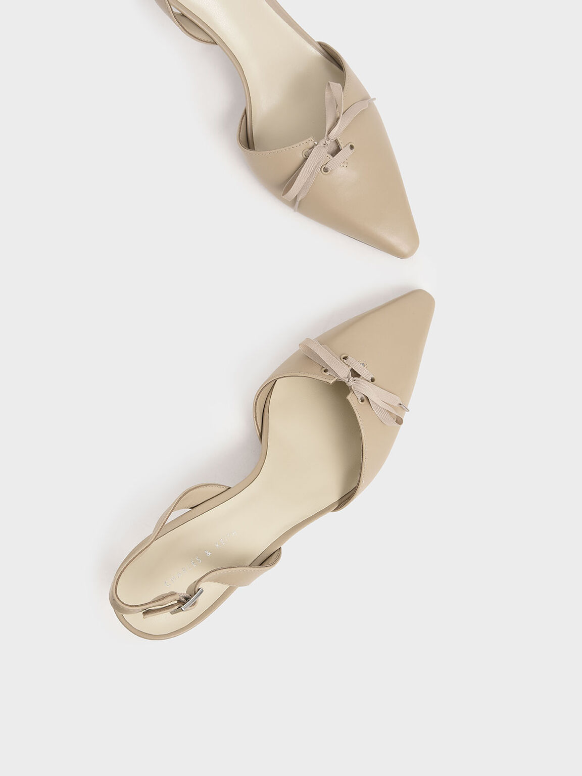 Ribbon Tie Slingback Heels, Beige, hi-res