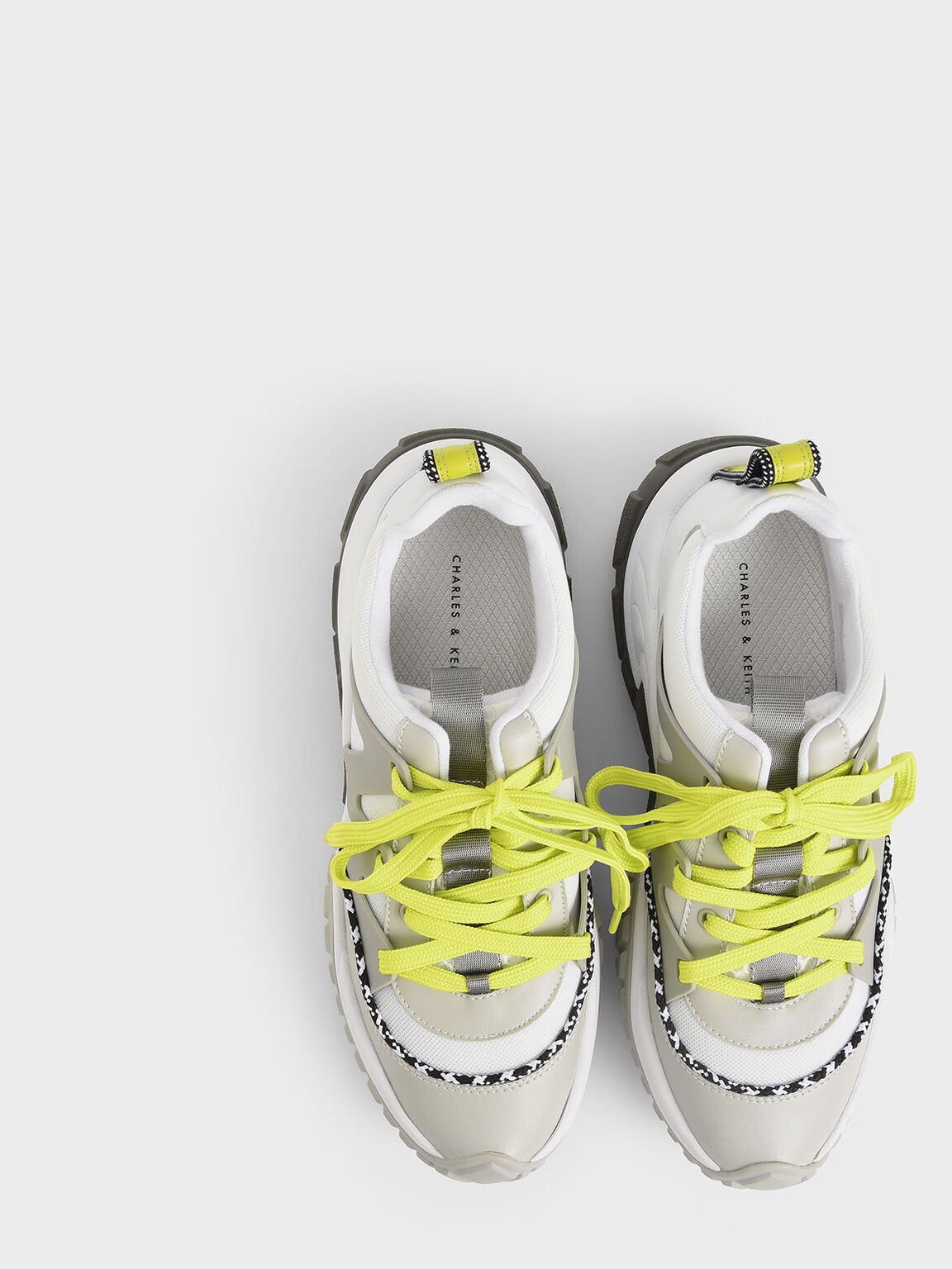 Mesh & Netting Chunky Trainers, Silver, hi-res