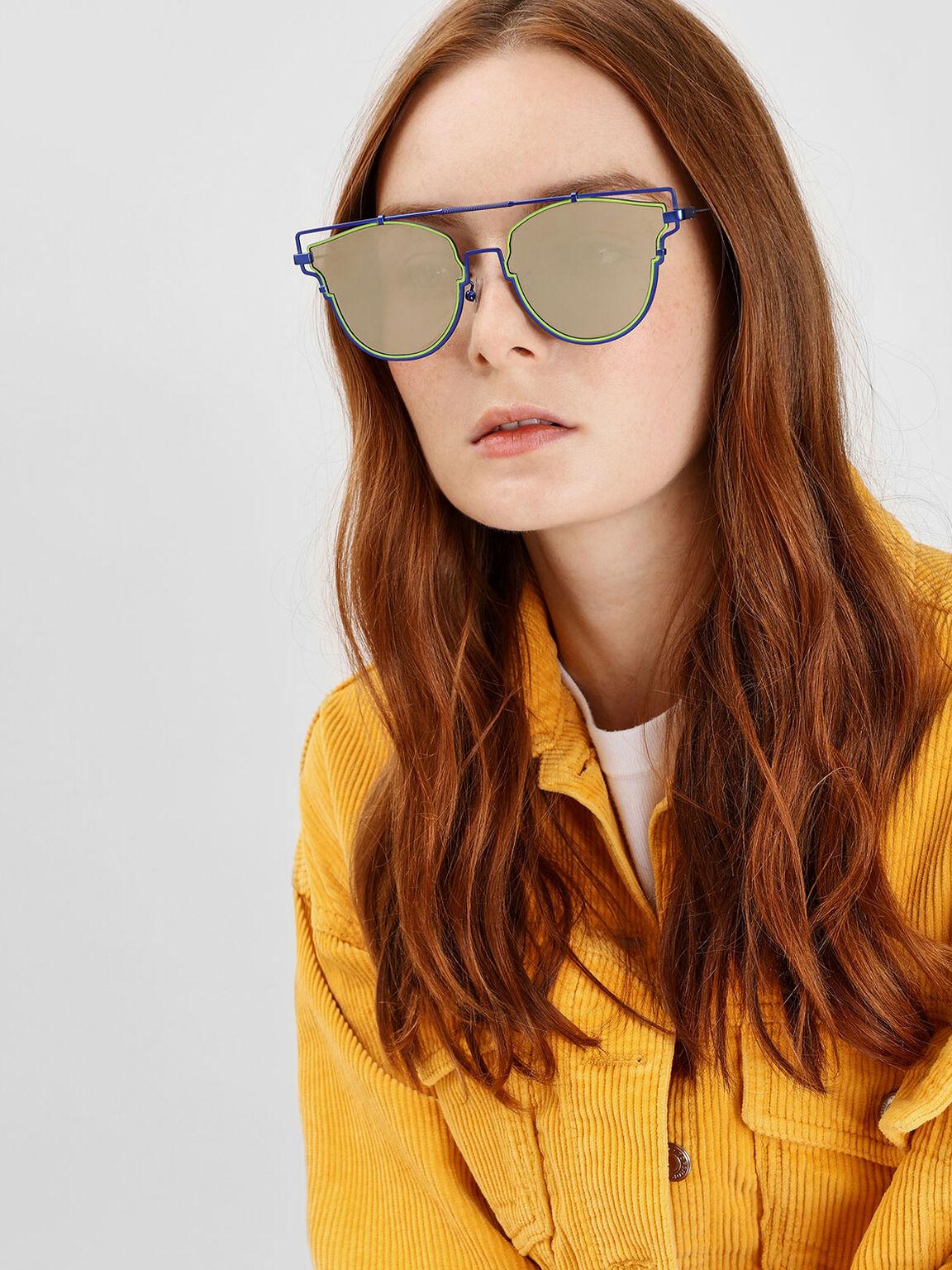 Wire Frame Geometric Sunglasses, Blue, hi-res