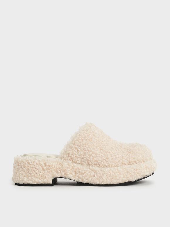 Furry Platform Clogs, Chalk, hi-res