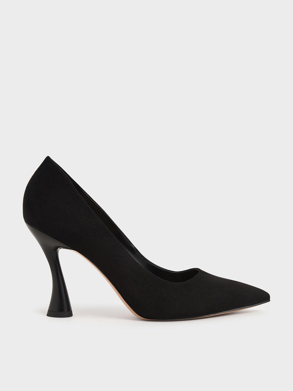 Spool Heel Pointed Toe Pumps, Black, hi-res