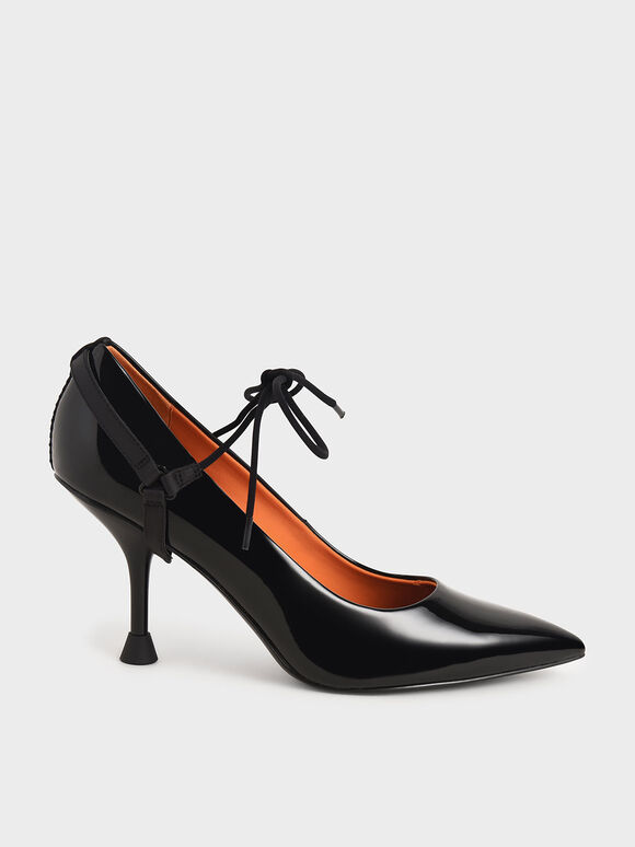 Patent Ankle-Tie Court Shoes, Black, hi-res