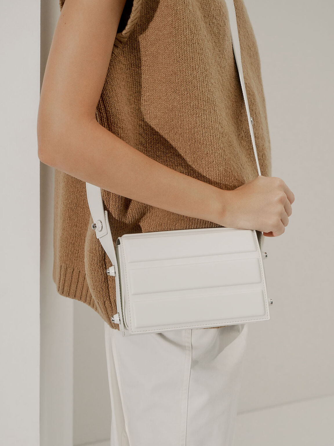 Eyelet-Embellished Top Handle Bag, White, hi-res